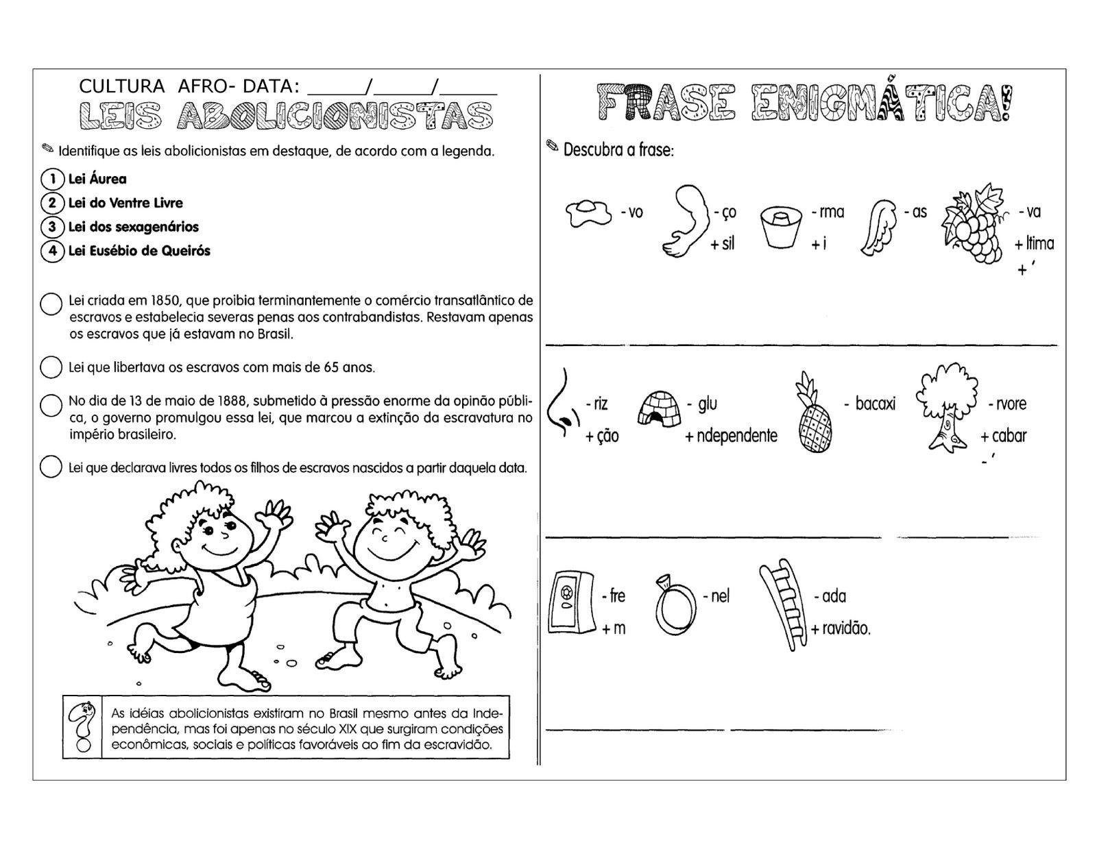 55 Atividades Abolicao Dos Escravos Exercicios Desenhos Colorir