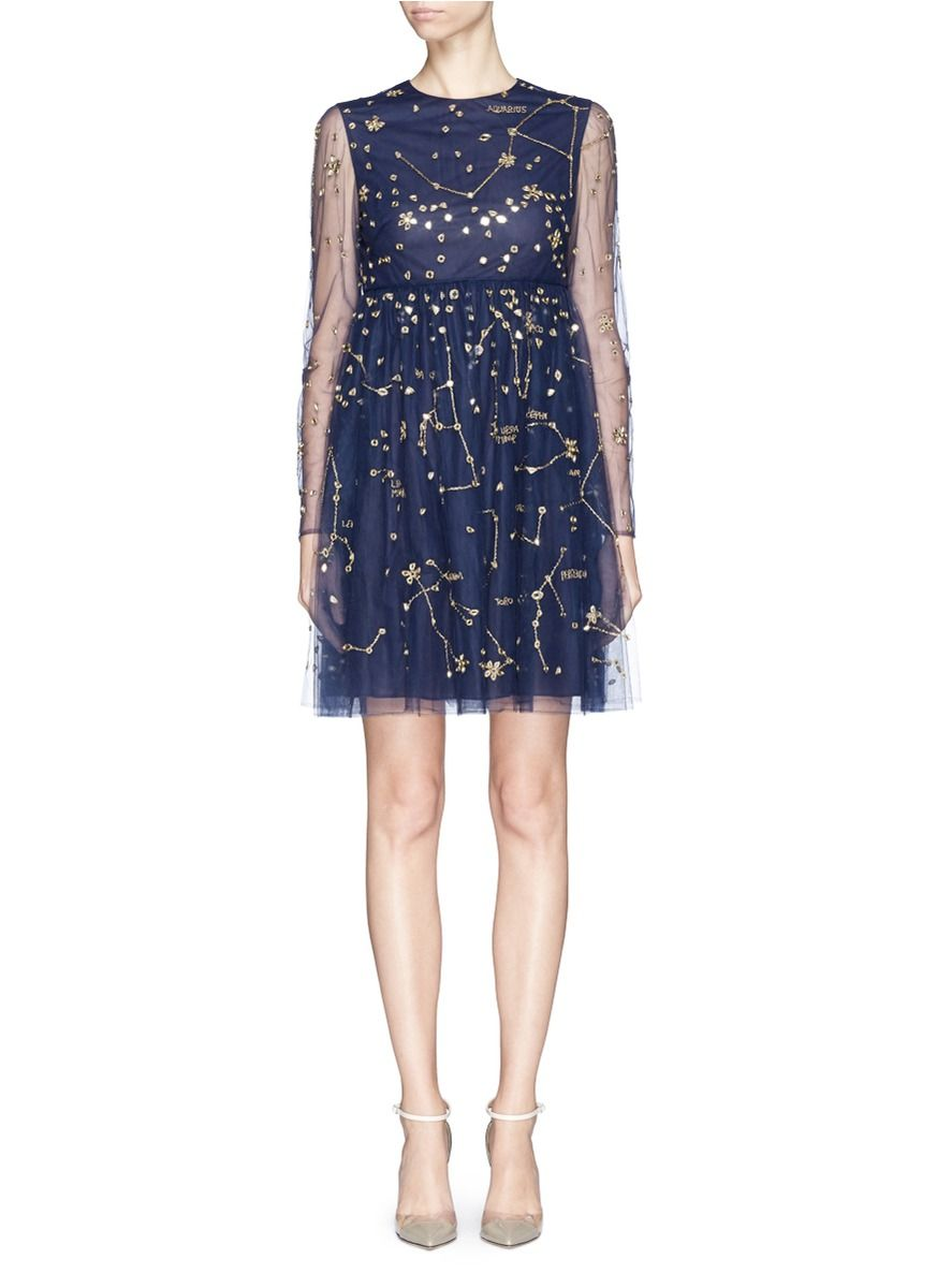 VALENTINO - Cosmos mirror embroidery tulle dress | Blue Cocktail ...