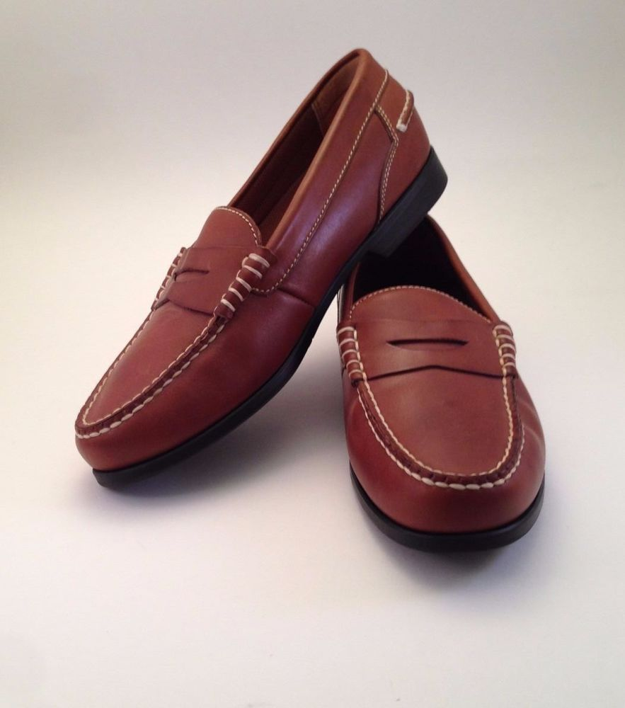 277e752bd1b Men s Bass Stevenson Slip On Penny Loafers Shoes Brown Leather Size 10.5 M   Bass  LoafersSlipOns