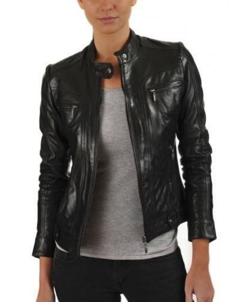 Women's Genuine Lambskin Leather Jacket Soft Slim fit Motorcycle ...