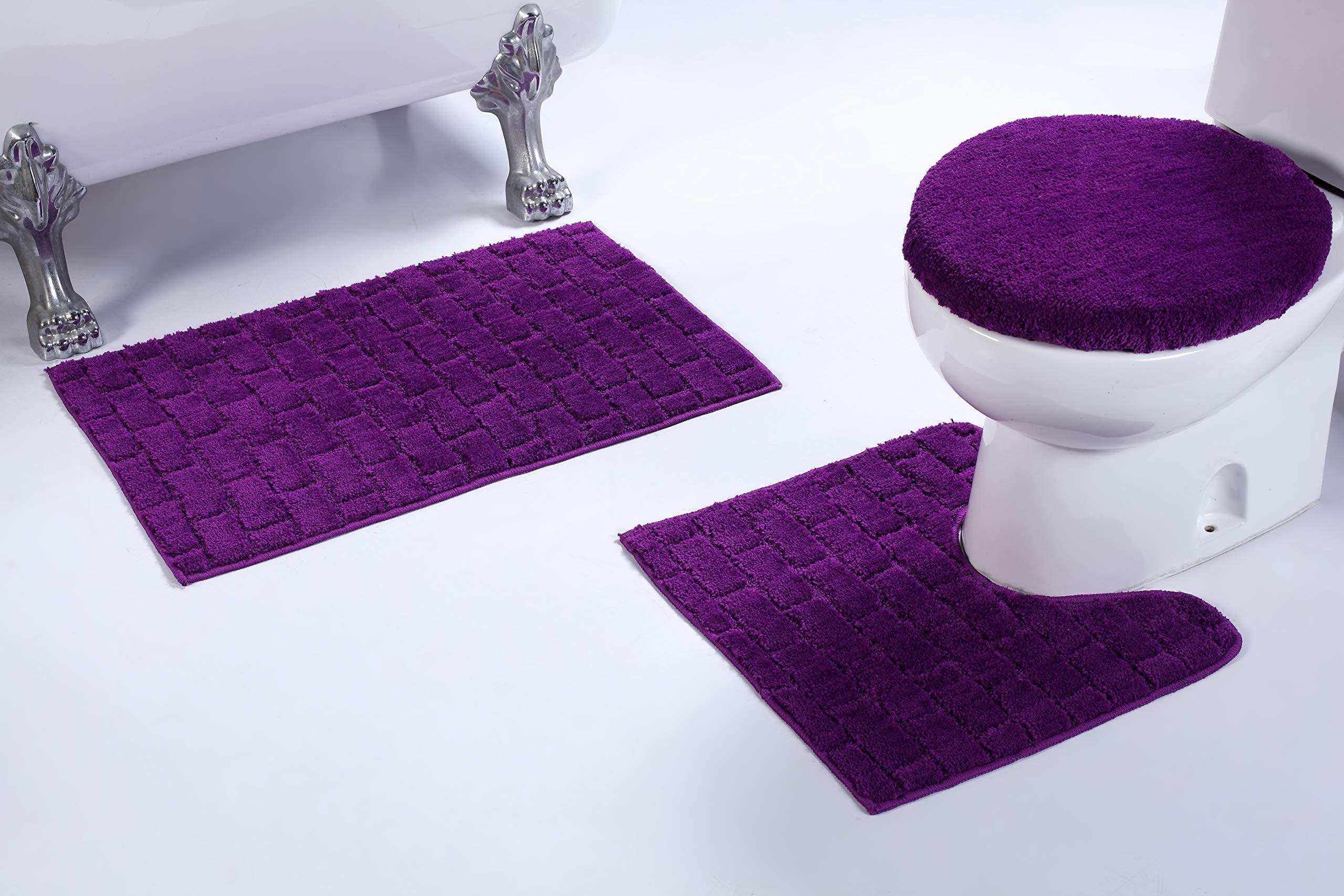 3pc Brick Pattern Purple Non Slip Bath Rug Set For Bathroom U