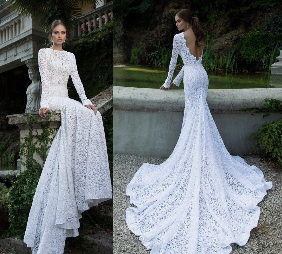 Elegant lace mermaid white ivory wedding dress custom