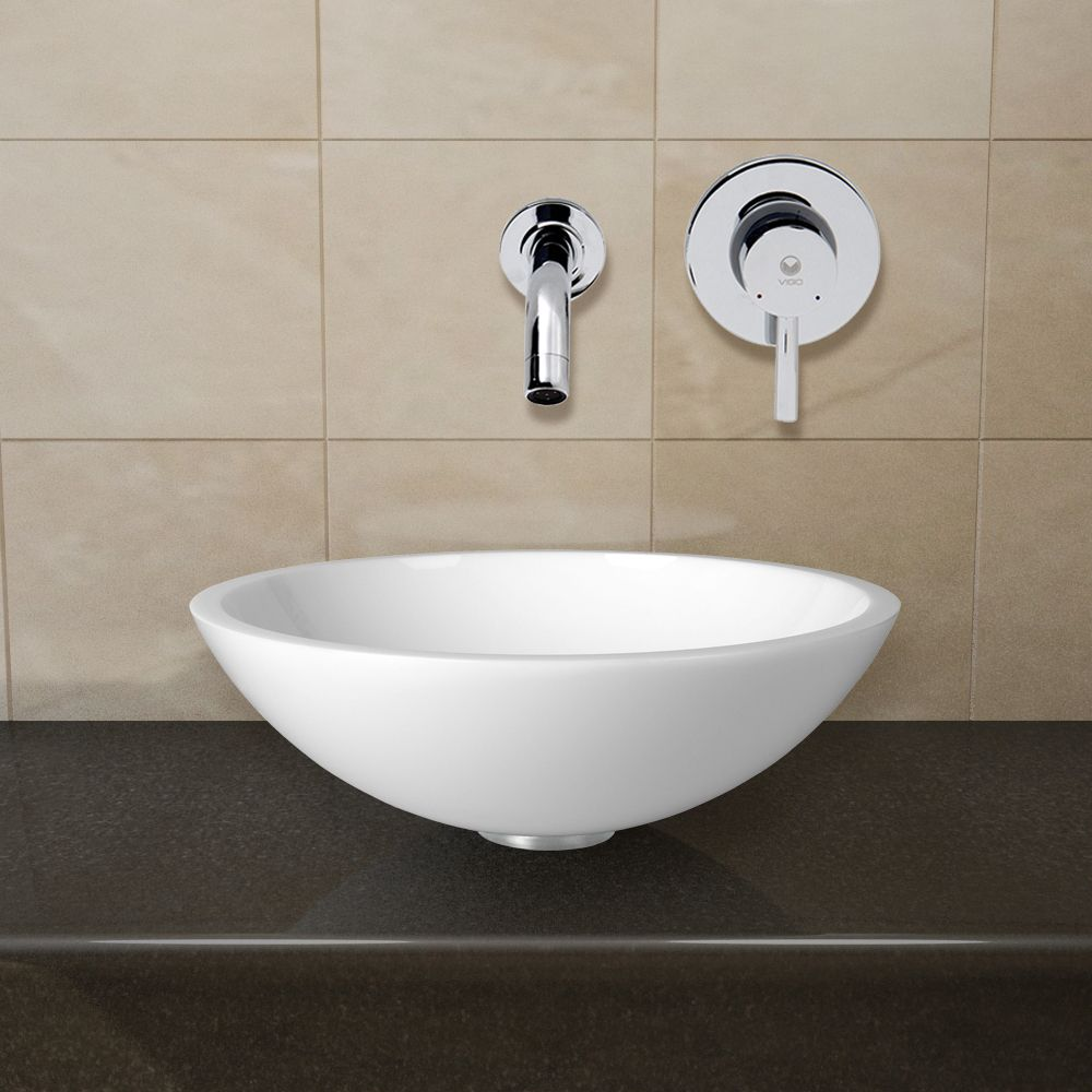 glass vessel sinks for bathrooms. Shop Vigo VGT22 Flat Edged White Phoenix Stone Glass Vessel Sink With Wall Mount Faucet At Sinks For Bathrooms