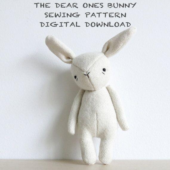 Sewing pattern   the dear ones bunny   soft toy pdf pattern digital ...
