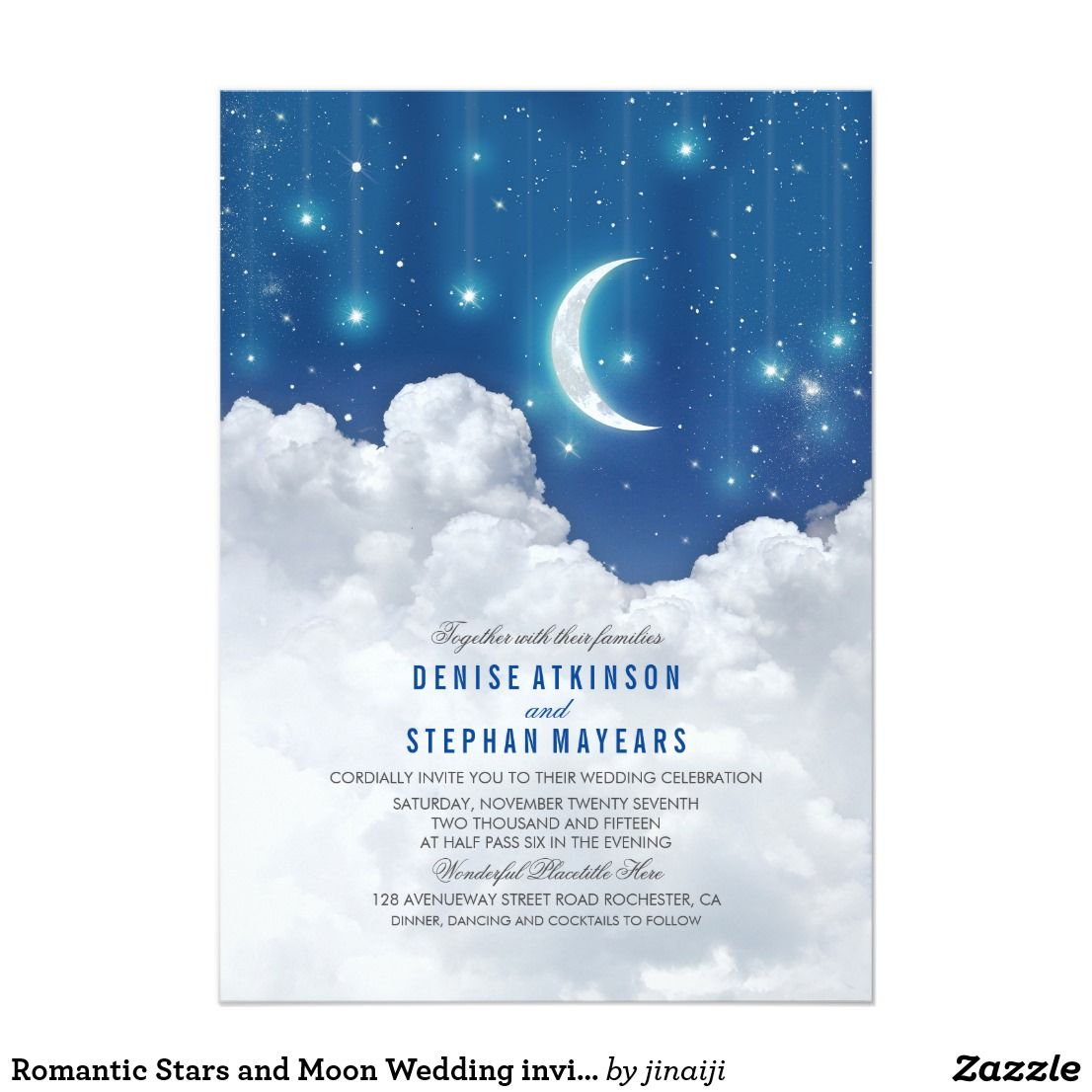 Romantic Stars And Moon Wedding Invitation Unique Dreamy With Blue Night Sky Inspired Invite For Starlit Outdoor: Blue Moon Wedding Invitations At Websimilar.org