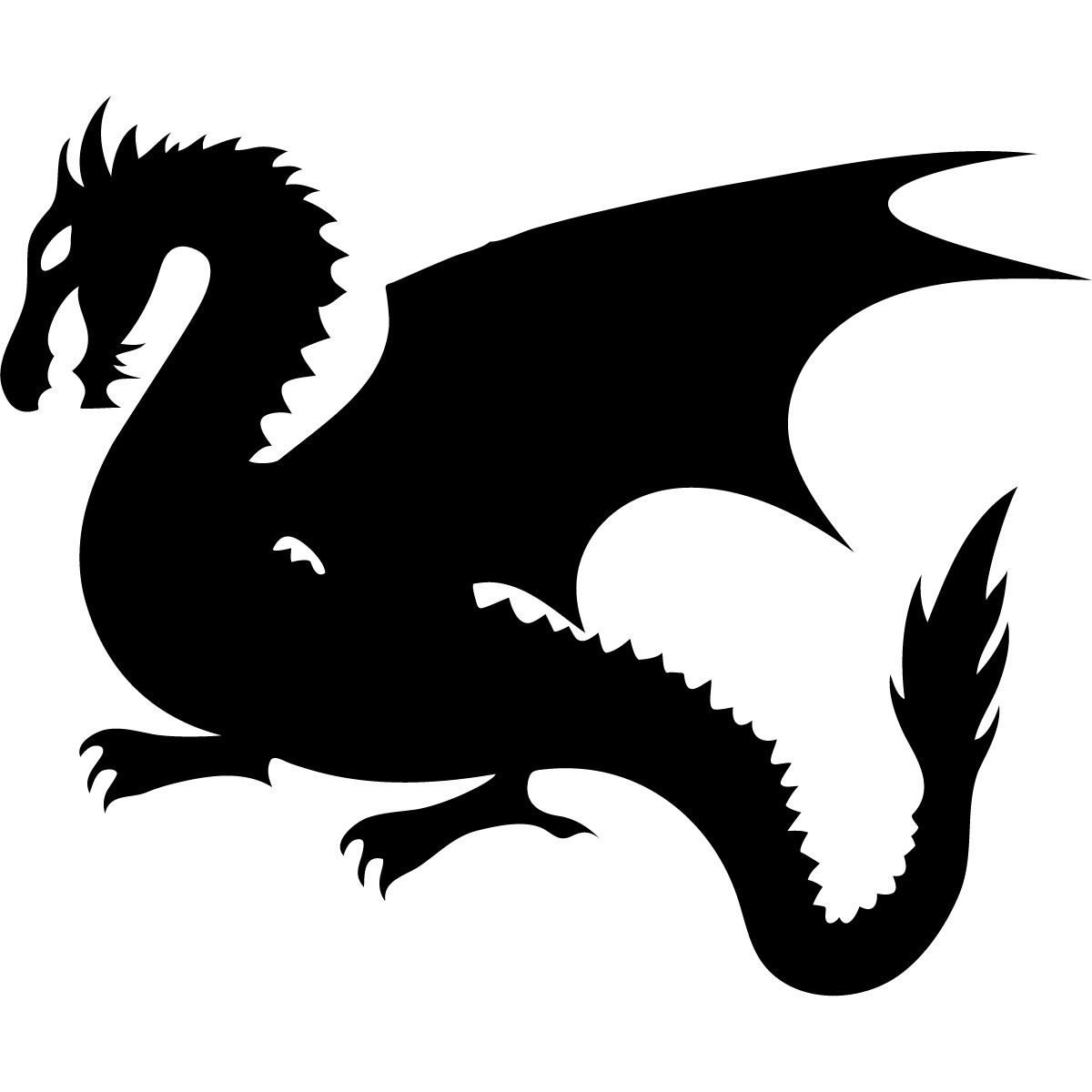 Dragon Silhouette Kids Mythical Creatures Wall Art Sticker ...