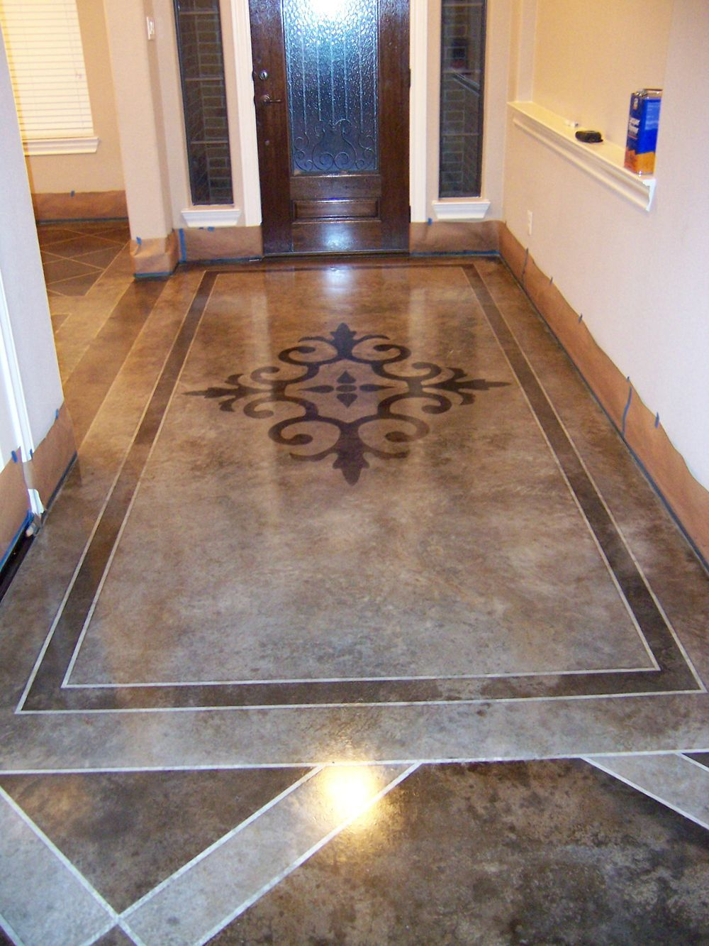acid stained concrete floors dark sections are full strength acid stain light sections are
