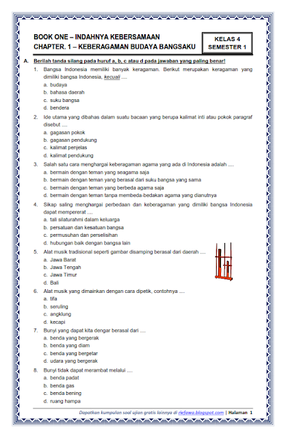 Download Soal Uas Pkn Kelas 4