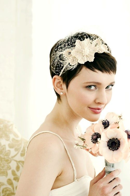 Short Wedding Hairstyle For Brides W Crochet Birdcage Veil Headband