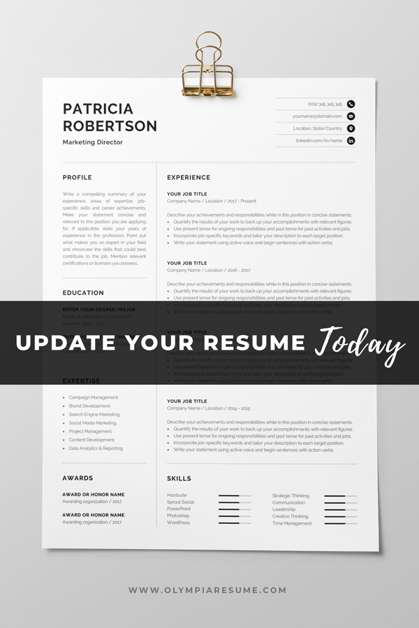 Professional 1 Page Resume Template Modern One Page Cv Word Mac Pages Minimalist Design Developer Designer Marketing Patricia In 2020 Resume Template Resume Templates Resume Template Professional