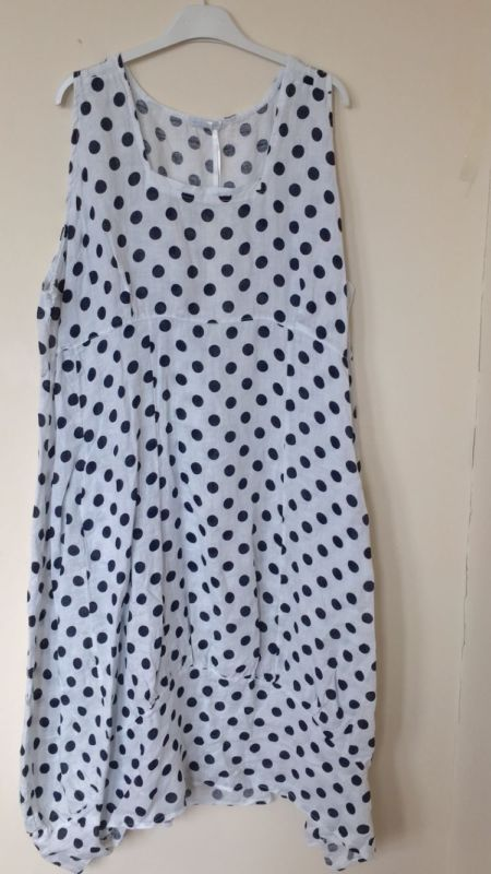 eb68fe12f1 PLUS SIZE Italian LAGENLOOK POLKA DOT BALLOON Spotty Tulip SPOTTED LINEN  Dress
