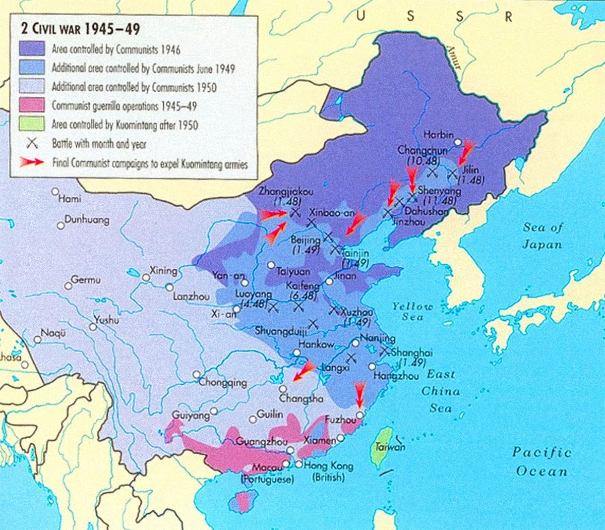 Map of the chinese civil war from 1945 to 1949 showing areas map of the chinese civil war from 1945 to 1949 showing areas controlled by the communists over time and the final position of the nationalists in taiwan gumiabroncs Image collections