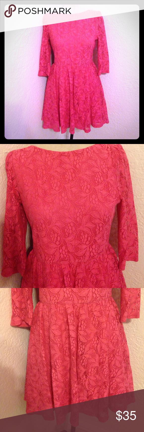 Pink dress topshop  HPTopshop hot pink lace long sleeve dress  Topshop dresses