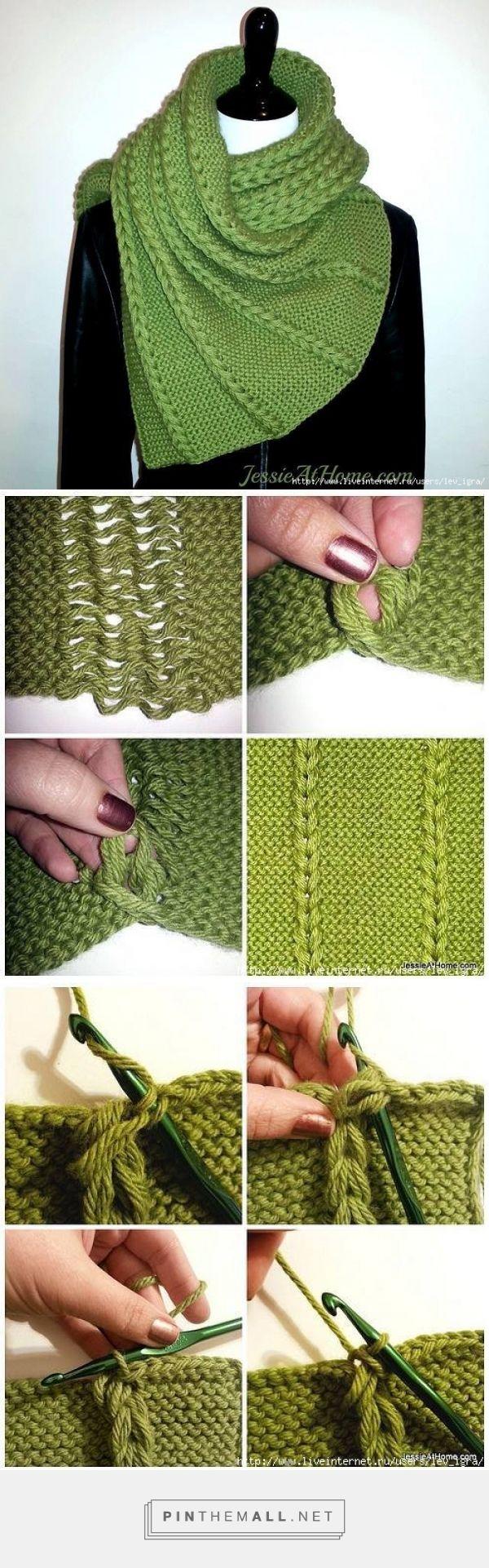 sciarpa verde con motivo intre   <br/> Crochet