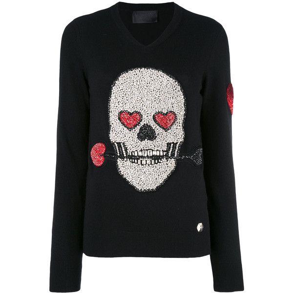 9a0526bcaa8 Philipp Plein sequin skull sweater ($1,285) ❤ liked on Polyvore ...