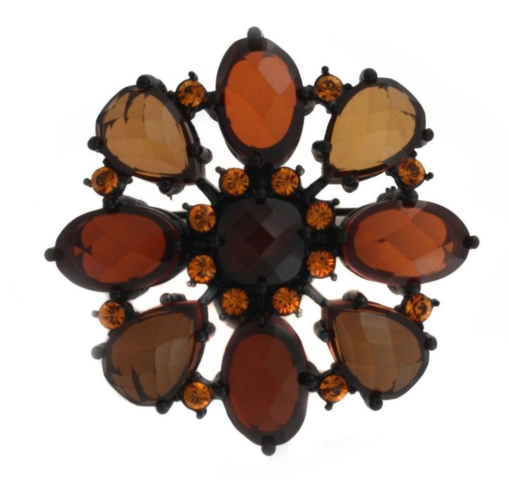 qvc Collectors Joan Rivers Black Gunmetal Neutral Fashion Diva Pin B333 #JoanRivers #Flower