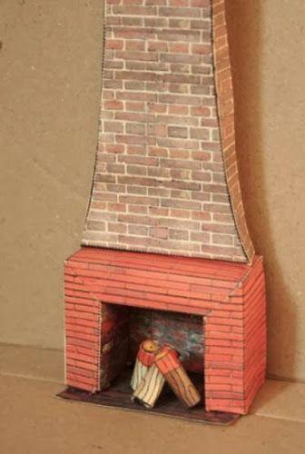 CASITA DE PAPEL: dollhouse paper: chimenea, fireplace by agence eureka