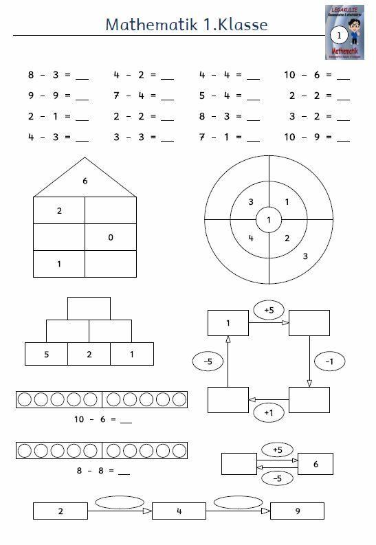 Kostenloses Arbeitsblatt 1.Klasse Mathematik Subtraktion ...