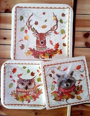 Forest Animals Party Paper Plates Napkins 3 Ct Owl Deer Raccoon & Forest Animals Party Paper Plates Napkins 3 Ct Owl Deer Raccoon ...