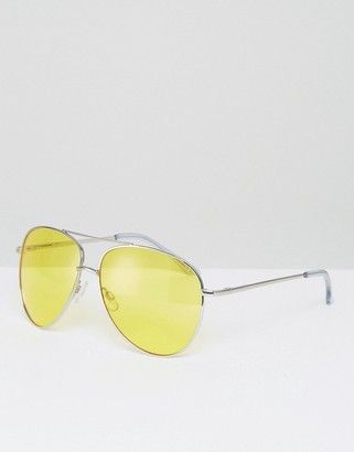 ASOS Metal Aviator Sunglasses In Silver With Yellow Colored Lens And Top Bar  #sunglasses #