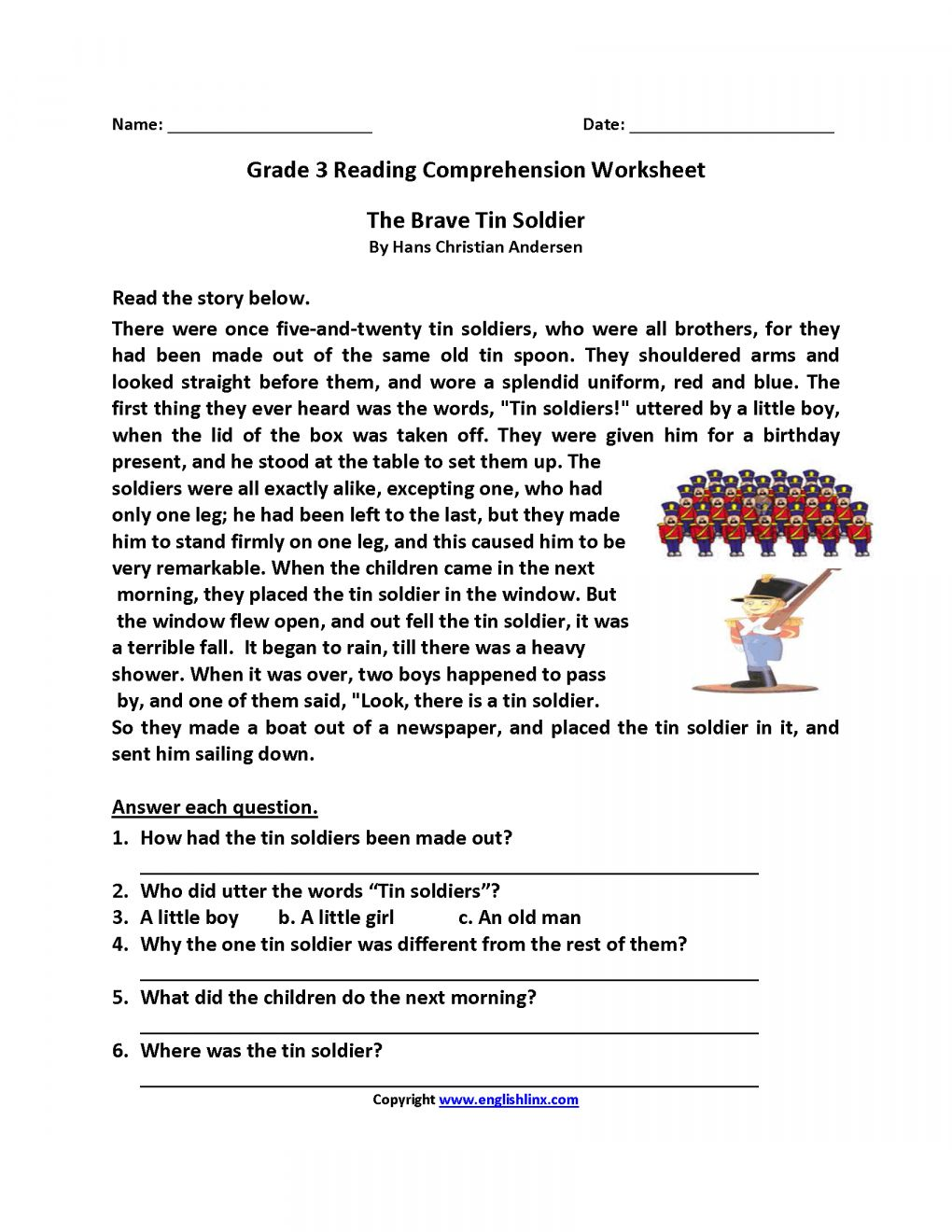 8 Reading Worksheet For Third Graders