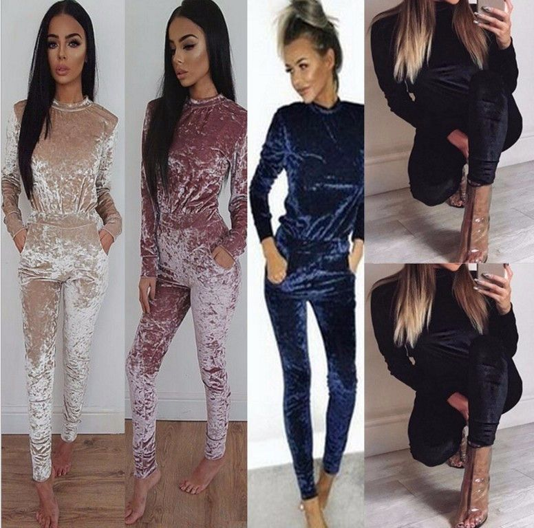 053c2bfb5d9 Item Type  Jumpsuits   Rompers Gender  Women Pattern Type  Solid Type   Jumpsuits Fabric Type  Velvet Style  Casual Fit Type  Skinny Length  Full  Length ...