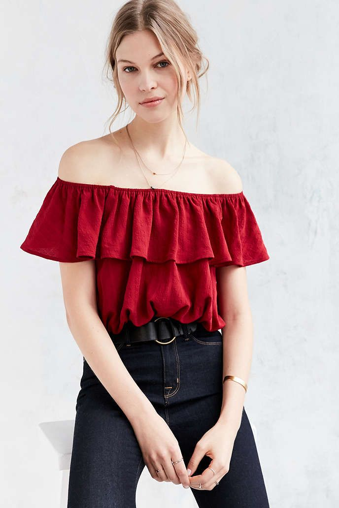29ead787a0647 Kimchi Blue Ruffle Off-The-Shoulder Cropped Top - Urban Outfitters