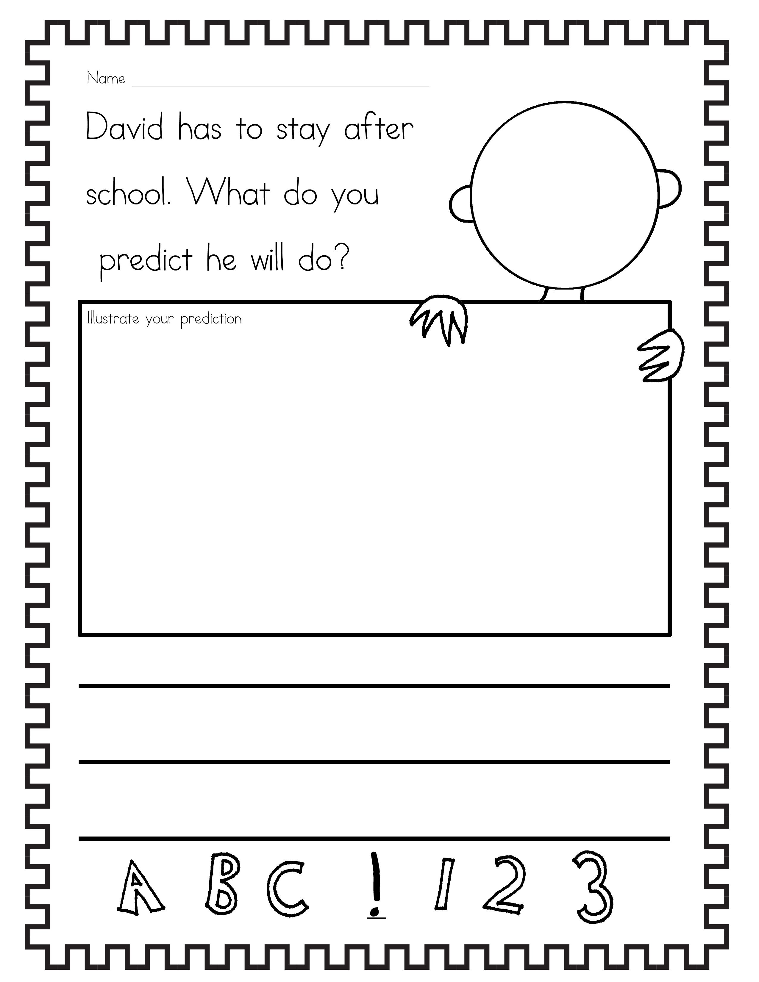 Free! David Goes to School Prediction Worksheet. I started off by jus…   Kindergarten  worksheets [ 3300 x 2550 Pixel ]