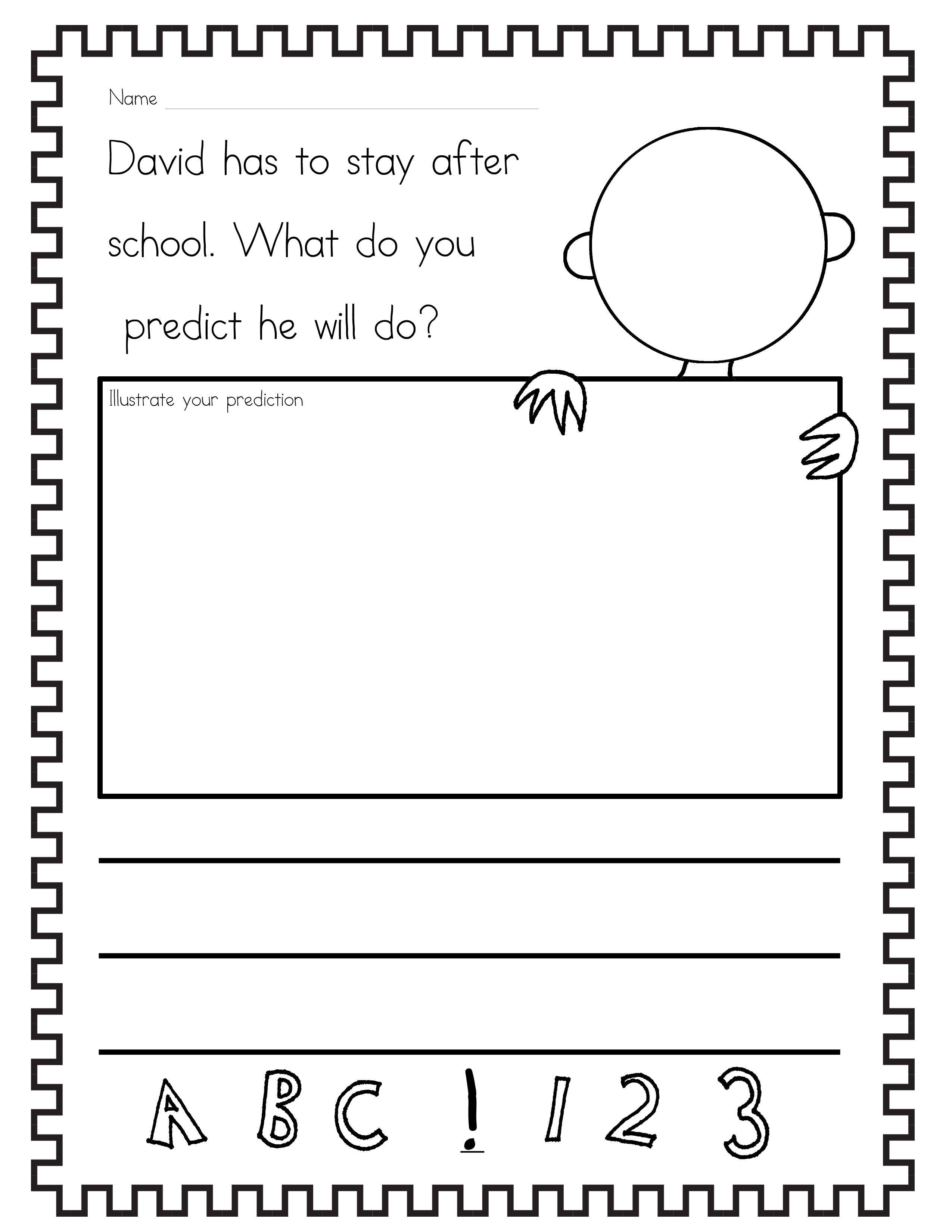 worksheet Prediction Worksheets free david goes to school prediction worksheet i started off by just reading david