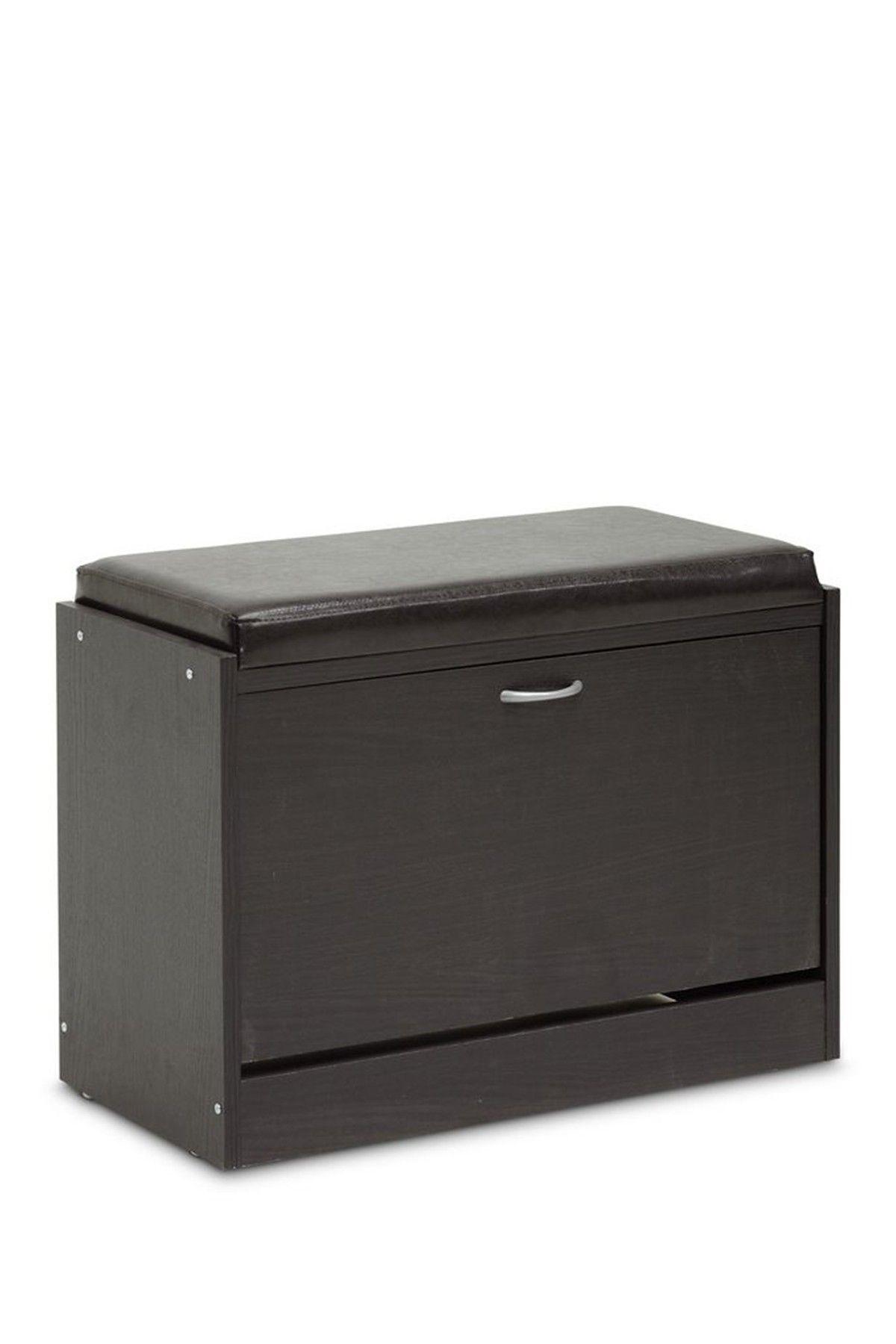 Bainbridge Dark Brown Shoe Rack With Seating Cushion By Wholesale