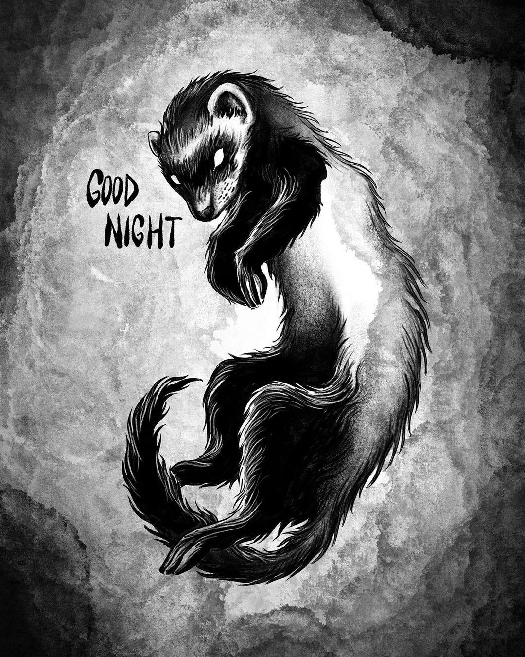 «Good night» - Not for sale, just to say goodbye to a small friend🤍 - #goodbye #goodnight #littlefriend #ferret #ferretlover #rip #loveyou #artwork #sadday #animallove #blackwork #darkwork #tattooart #tattoo #illustration