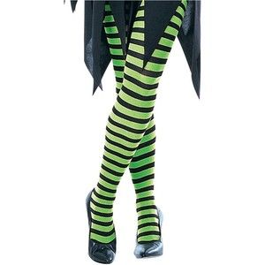 Green /& Black Striped Witch Tights Halloween Womens Fancy Dress Accessory
