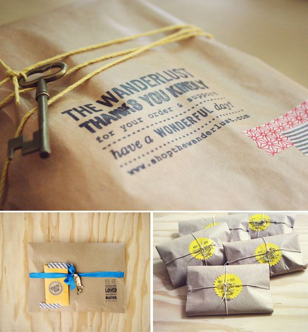 Online shop packaging concepts as sent to customers via Oh
