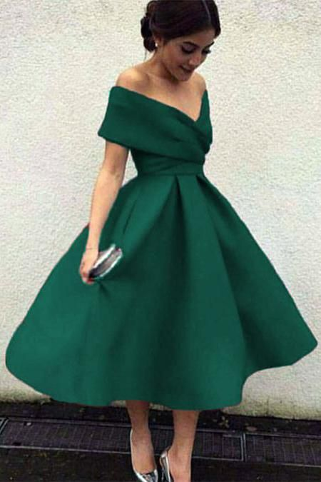 Vintage A-line Cap Sleeves Satin Tea Length Prom Dress in 2019 ... 5cf9710f6684
