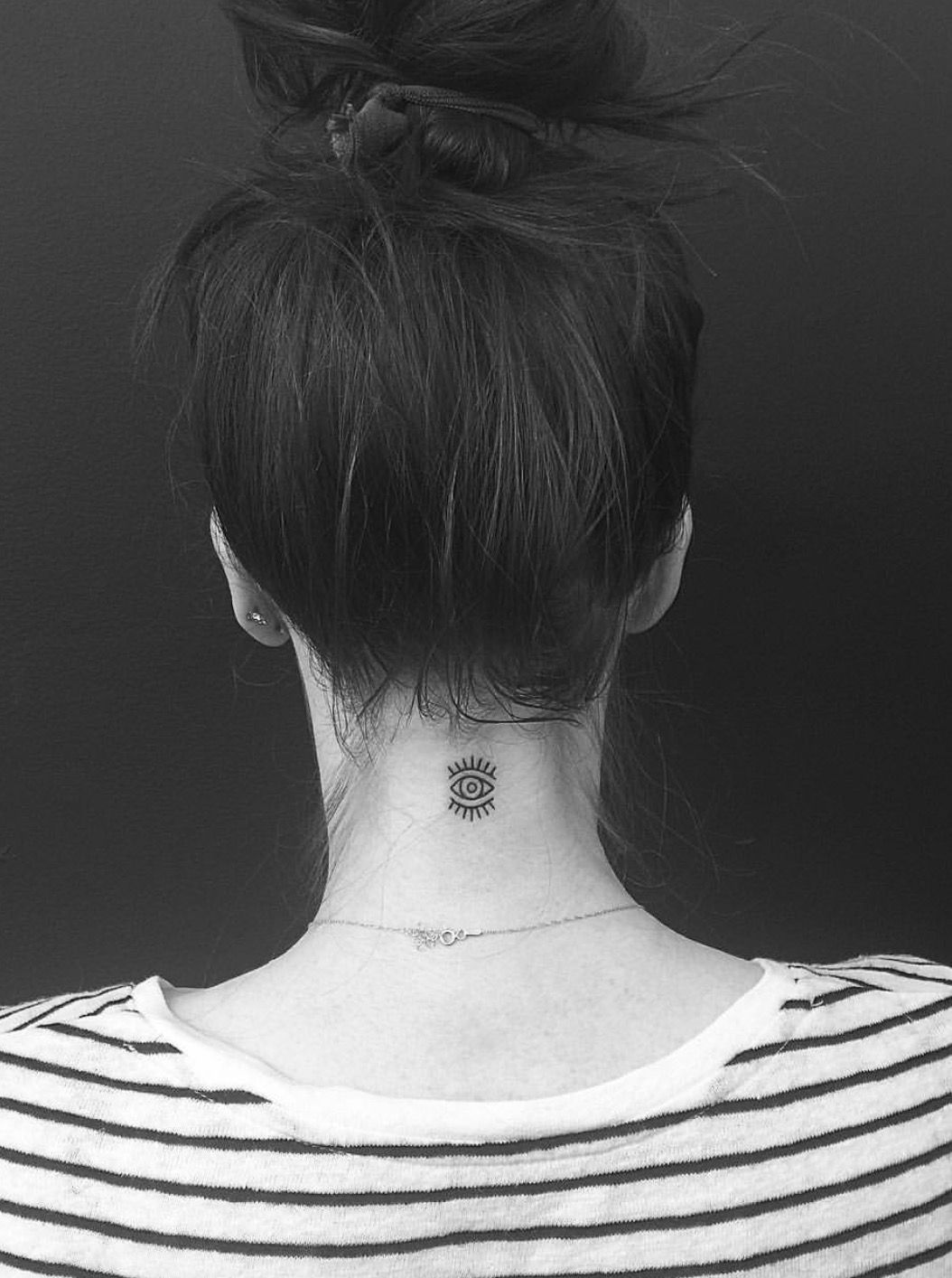 Evil Eye Neck Tattoo Neck tattoos women, Small girl
