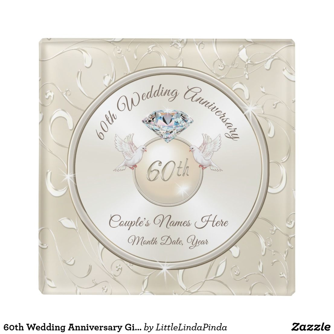60th Wedding Anniversary Gift Ideas For Parents Glass Coaster Zazzle Com 60th Wedding Anniversary Gifts Anniversary Gifts Diamond Wedding Anniversary Gifts