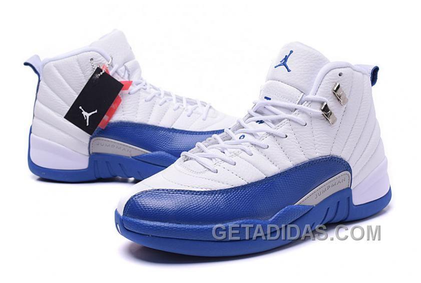 "2016 Air Jordans 12 Retro ""French Blue"" White French Blue-Metallic  Silver-Varsity Red Free Shipping XWHWck c16b0210b"