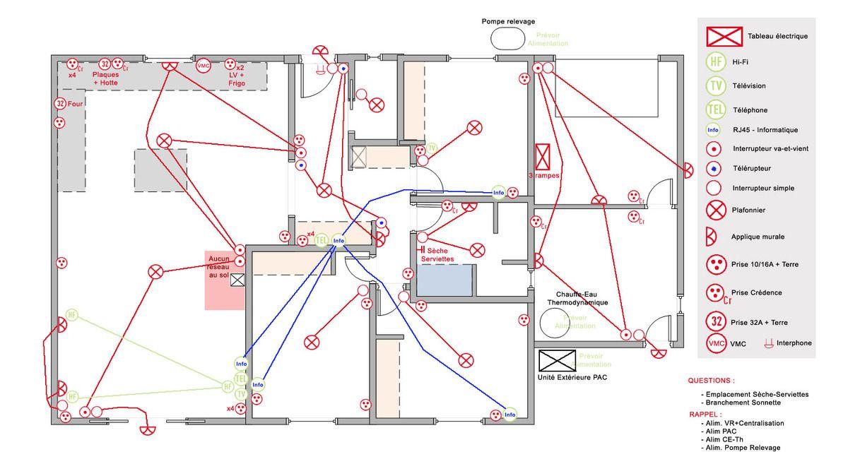 Schema Installation Electrique Maison Neuve  Schma lectrique D
