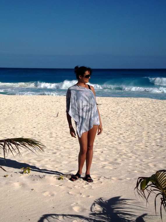 Gray Marble Beach Poncho tie dye Swimsuit Cover Up by UchiWraps