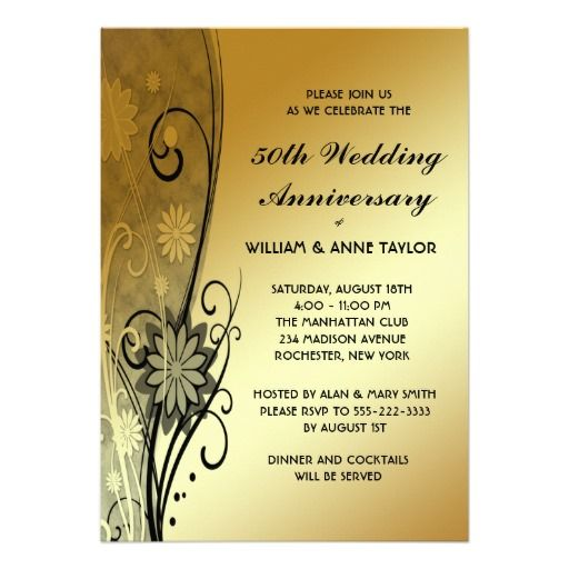 Gold Flower Swirls 50th Anniversary Invitations Invitations - Formal Invitation Letters