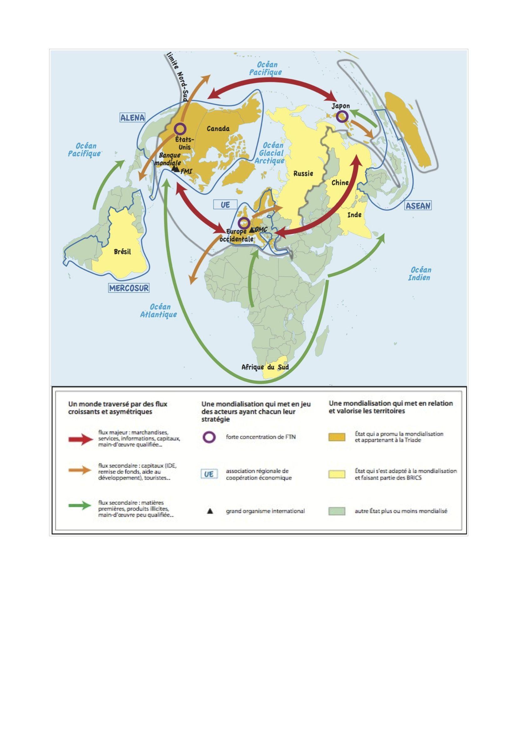 pôles et flux de la mondialisation carte bac Top 10 croquis du bac Tl L ES: les pôles et flux de la
