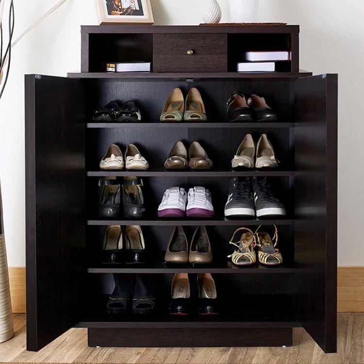 Furniture Of America Arthurie Espresso Enclosed 5 Shelf Shoe Cabinetbestproductscom