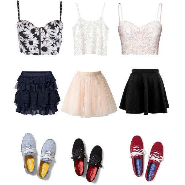 Crop Tops Skater Skirts And Keds By Liligartner On Polyvore Featuring Polyvore Fashion Style ...