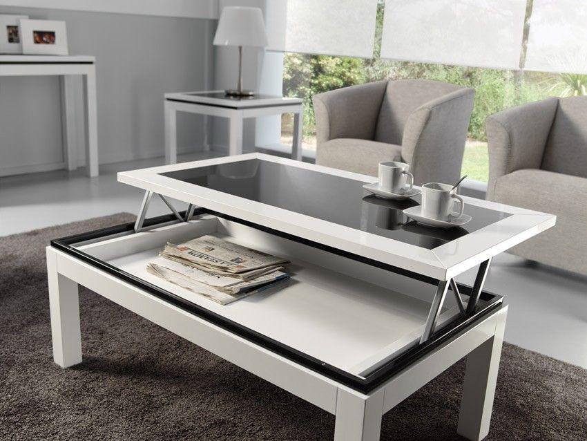 decoracion mesa de centro elevable lacada con cristal