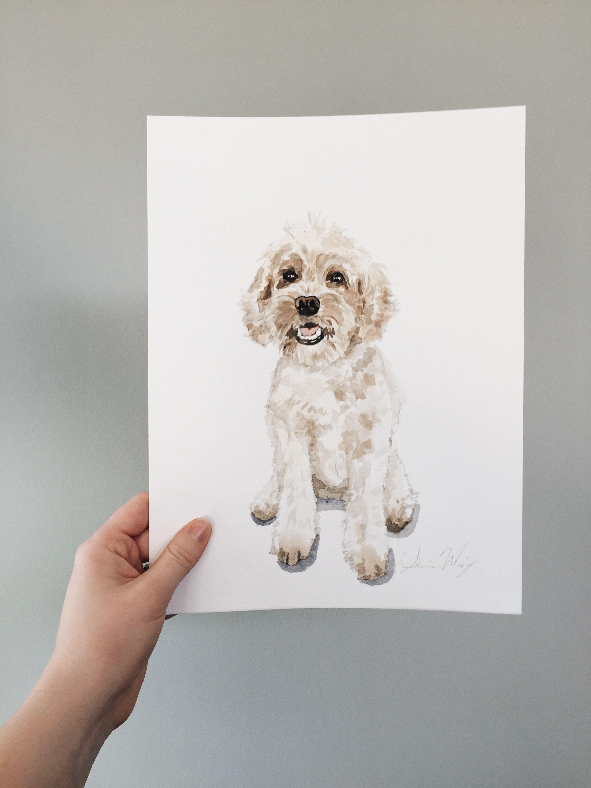 Mini Golden Doodle Custom Watercolor Pet Portrait Goldendoodle Goldendoodlepuppy Goldenretriever Poodle