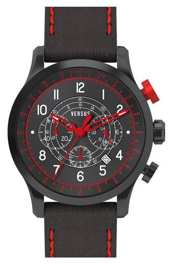 VERSUS by Versace 'Soho' Leather Strap Watch, 44mm available at #Nordstrom