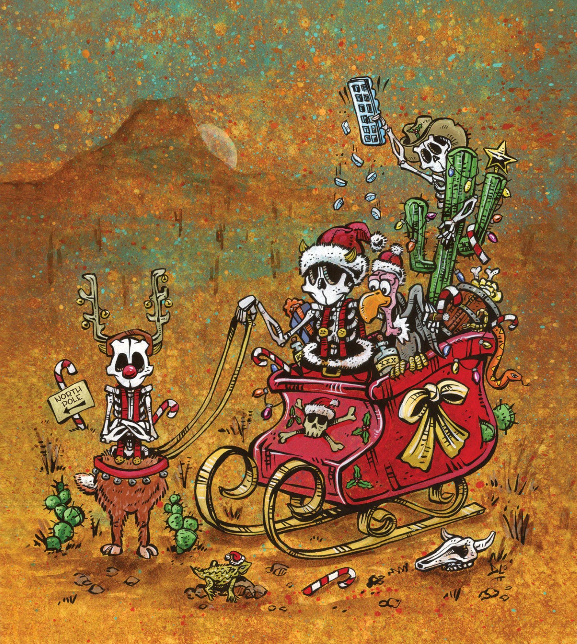 Christmas sleigh day of the dead artist david lozeau