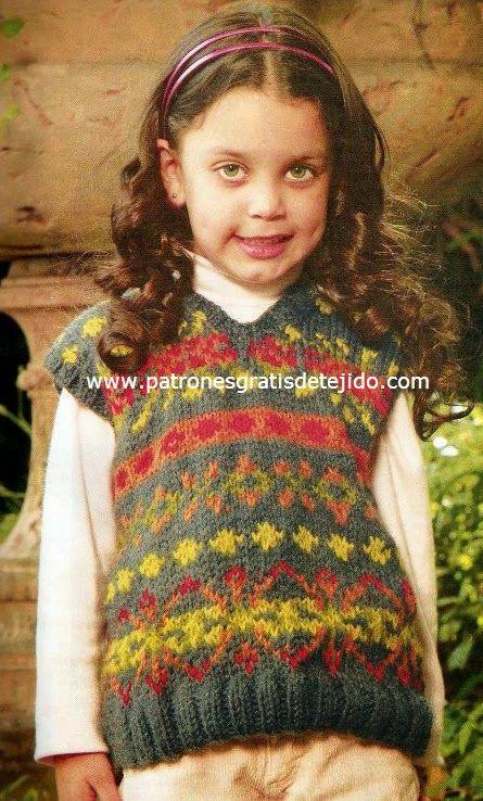 Patrones de chaleco jackard tejido con dos agujas | Crochet / Knit ...