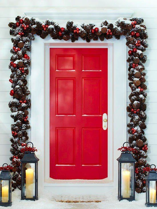 cherry red door! perfect for christmas outdoor decor complete with