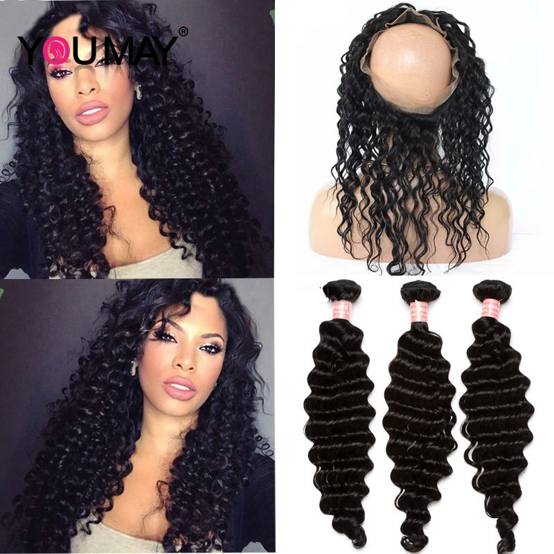 360 Lace Frontal With Bandles Mink Brazilian Deep Wave Virgin Hair 3 Bundles With 360 Lace Frontal Hair Circular Closure